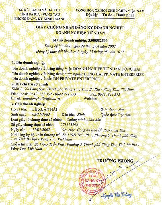 Giấy Chứng Nhận Đăng Ký Doanh Nghiệp Tư Nhân Đông Hải